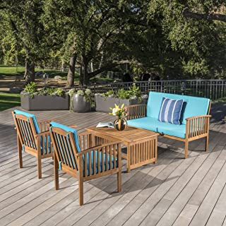 Christopher Knight Home Cape Town Outdoor 4 Piece Brown Patina Acacia Wood Sofa Set with Teal Water Resistant Cushions