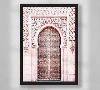 Decorazione da parete - Porta marocchina rosa, poster da parete poster premium per soggiorno, formato A4, senza cornice, a...