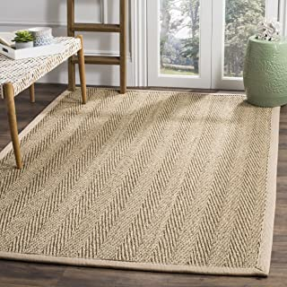 Safavieh Natural Fiber Collection NF115A Herringbone Natural and Beige Seagrass Area Rug (4' x 6')