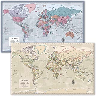 """World Map [Purple] & Antique Style World Map - Set of 2 Posters (Laminated, 18"""" x 29"""")"""