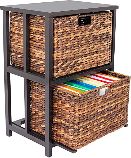 BirdRock Home Abaca 2 Tier File Cubby Cabinet Vertical Storage Furniture 2 Drawers Office D Cor Home Decorative Box Filing Natural Wood Delivered Fully Assembled Hanging Letter And Legal