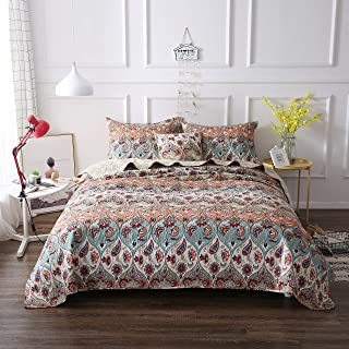 DaDa Bedding Bohemian Bedspread Set - Coral Floral Paisley Garden Party Reversible Coverlet - Bright Vibrant Multi-Colorful Blue Salmon Pink - Cal King - 3-Pieces