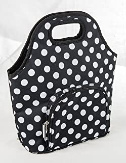 Insulated Lunch Carry Bag Purse (Green with White Polka Dots)