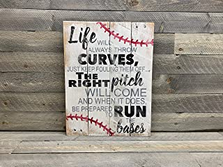 CELYCASY Baseball Sign - Rustic Pallet Wall Art - Life Will Always Throw Curves - Baseball Mom Gifts - Baseball Coach Gift - Wooden Wall Sign - 14x18