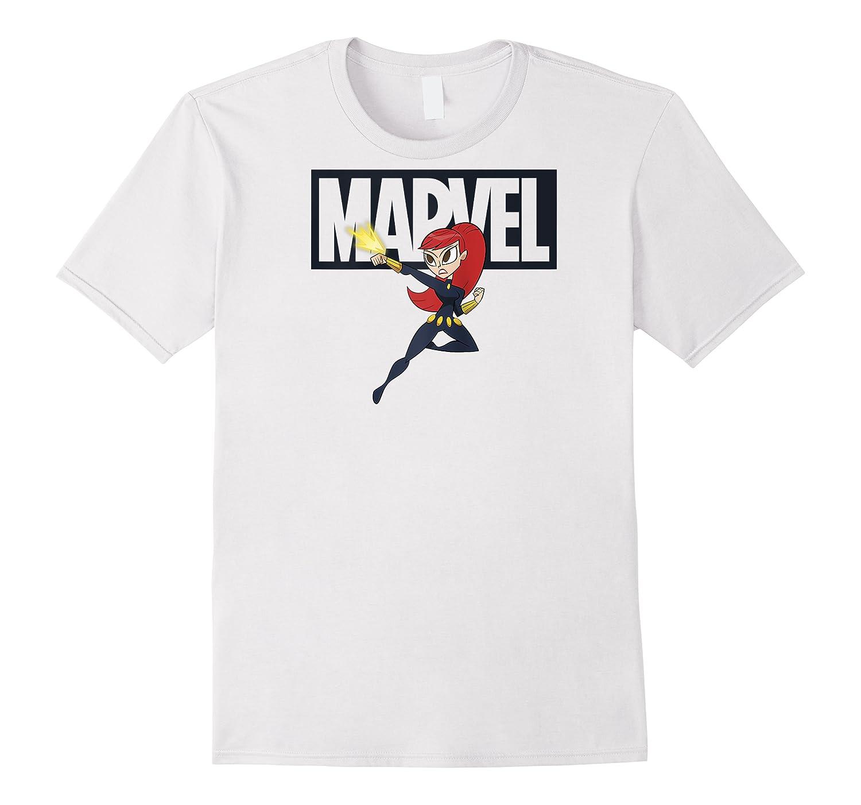 Black Widow Chibi Action Pose Logo Outline Baseball Shirts