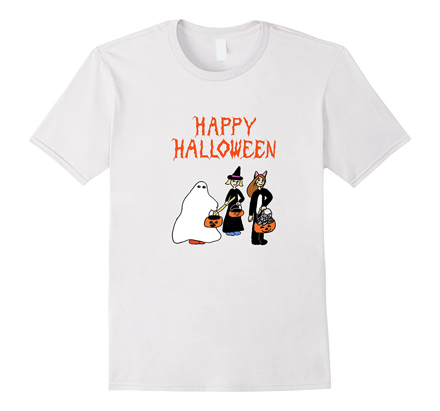 Halloween Trick Or Treaters Ghost Witch Cat Kitty Pumpkin Shirts
