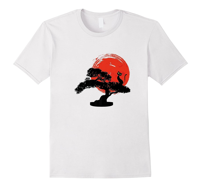 Bonsai Tree Funny Cat Sun Asian Japanese Art Premium T-shirt