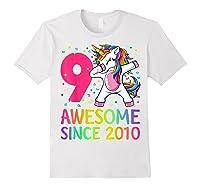 9 Years Old 9th Birthday Unicorn Dabbing Girl Party Shirts White
