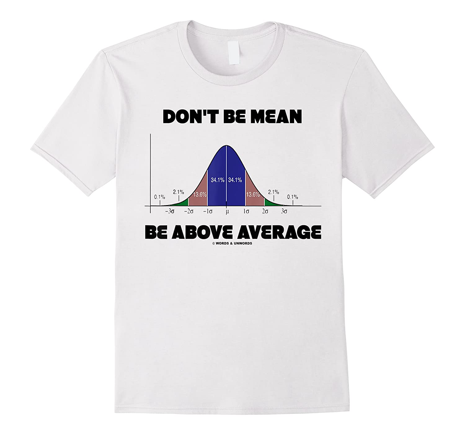Don T Be Mean Be Above Average Bell Curve Statistics Humor Shirts