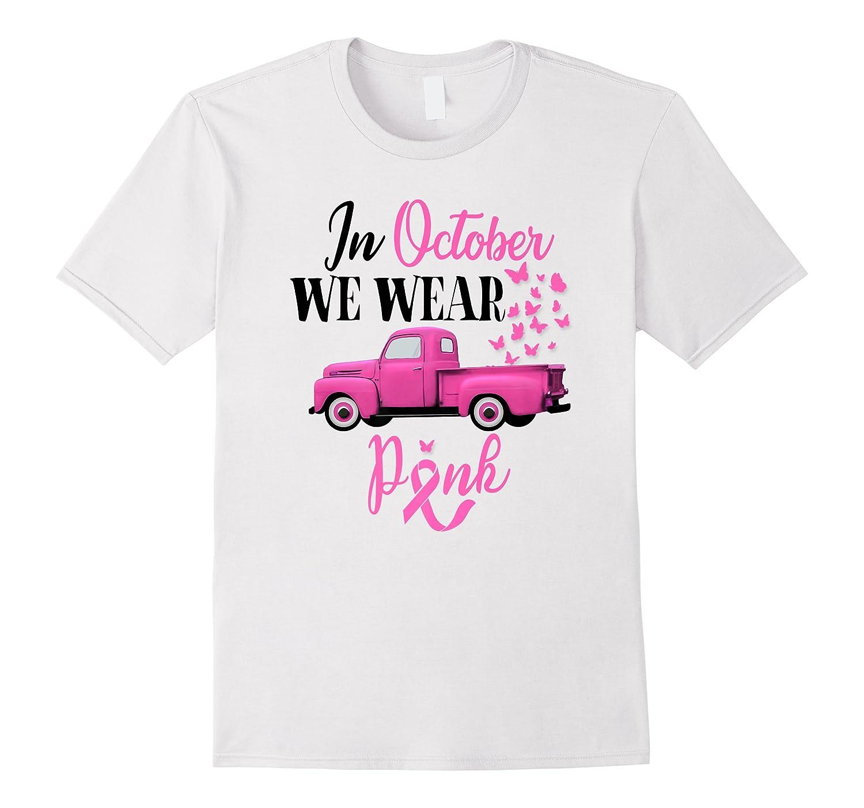 October Breast Cancer Awareness Month Pumpkin Vintage Truck Premium T Shirt