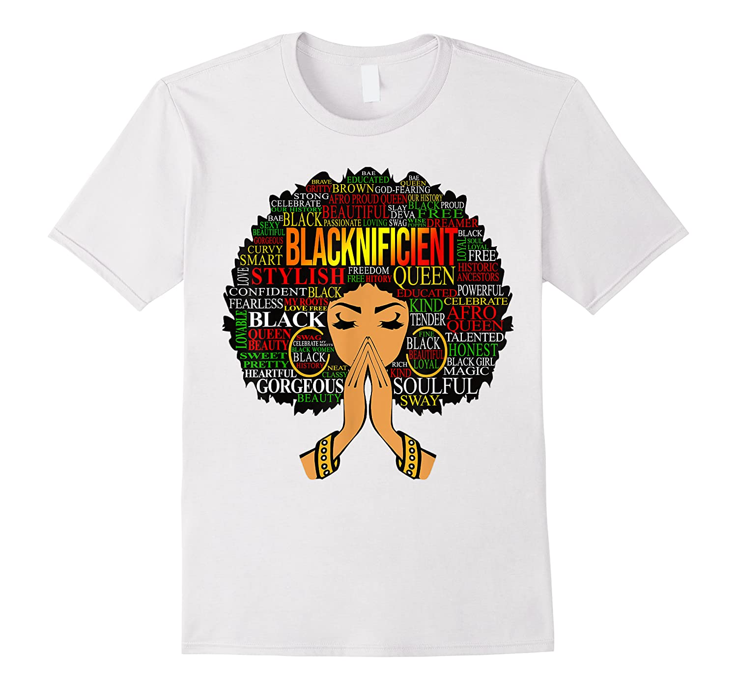 Blacknificient Words Art Afro Natural Hair Black Queen Gift Shirts