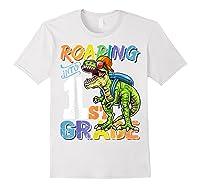 Roaring 1st Grade Dinosaur Back To School Backpack Shirt Boy White