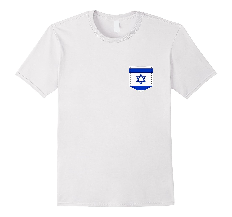 Israel Flag T Shirt With Printed Israeli Flag Pocket