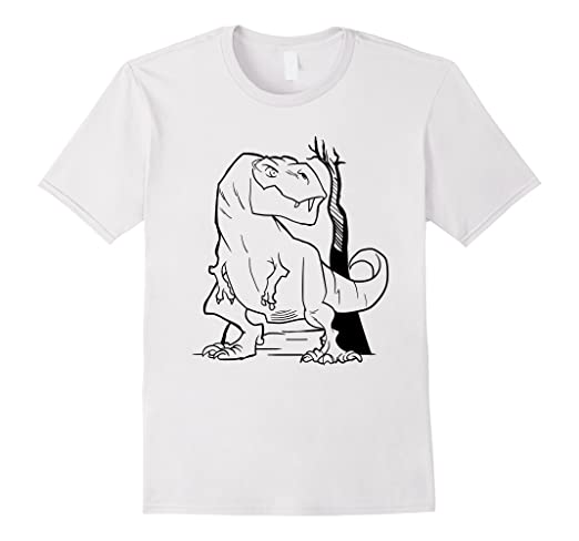 Amazon.com: Coloring T-Shirt with T-Rex Dinosaur: Clothing
