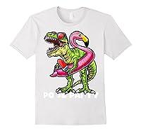 Pool Party T Rex Dinosaur Flamingo Float Summer Gift Shirts White