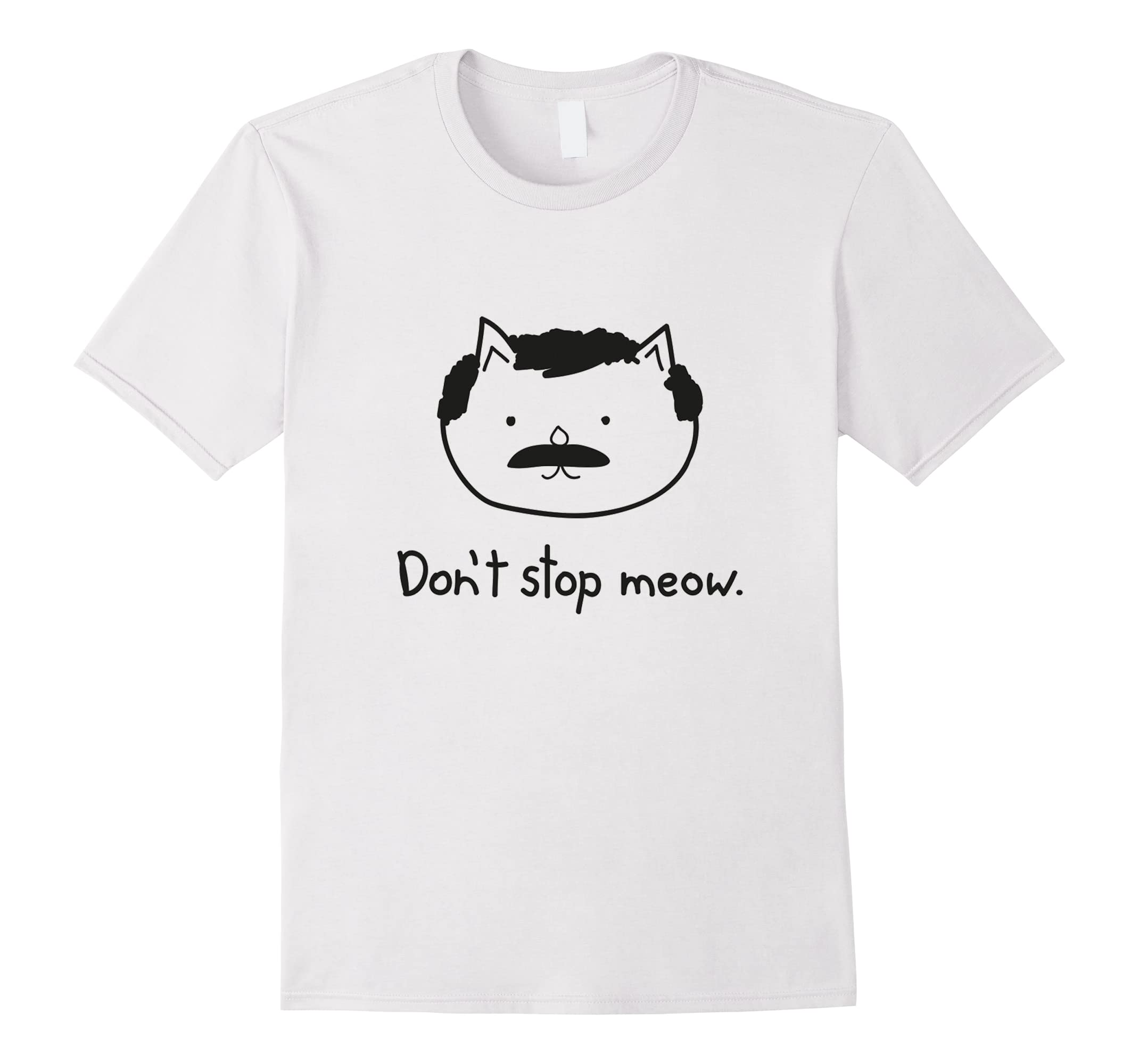 Don't stop meow funny cat men troll cartoon T-Shirts-RT