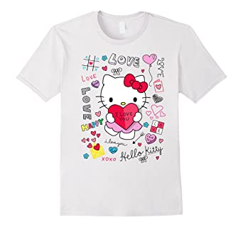 720eb0c4 Image Unavailable. Image not available for. Color: Hello Kitty Love Notes Valentine  Tee Shirt