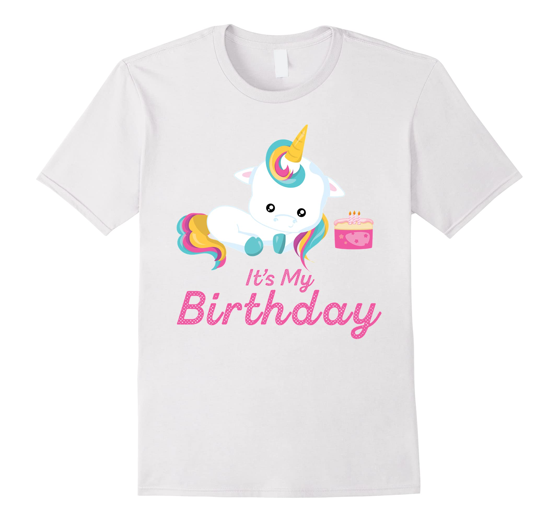 Unicorn & Birthday Cake with Candles Gifts Shirts for Girls-RT