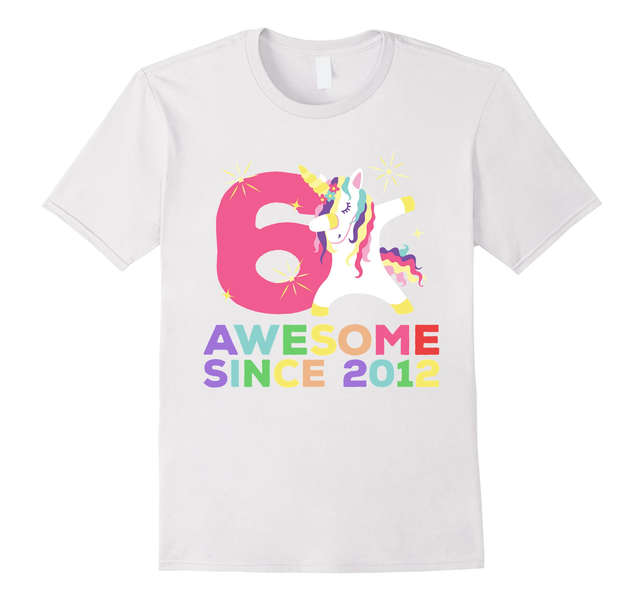 6th B-day T-Shirt - Unicorn Dabbing Awesome Since 2012-RT