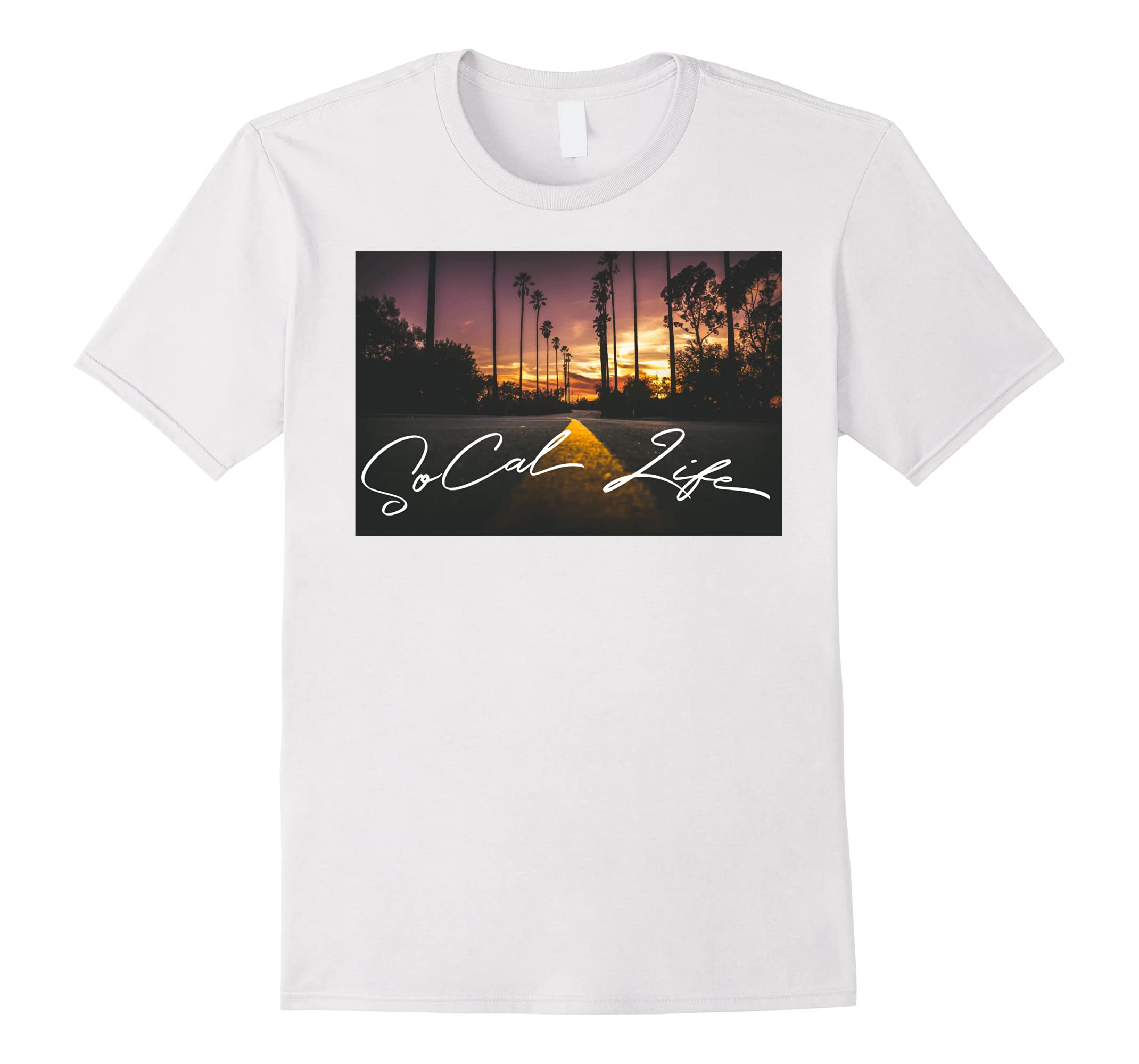 20af06a30 SoCal Life Sunset Road with Palm Trees T-shirt-RT – Rateeshirt