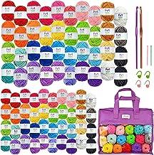 Mira Handcrafts Acrylic Yarn 80-Pack - 22 Yard Assorted Colors - Total of 1750 Craft Yarn, 2 Crochet Hooks, 4 Stitch Marke...