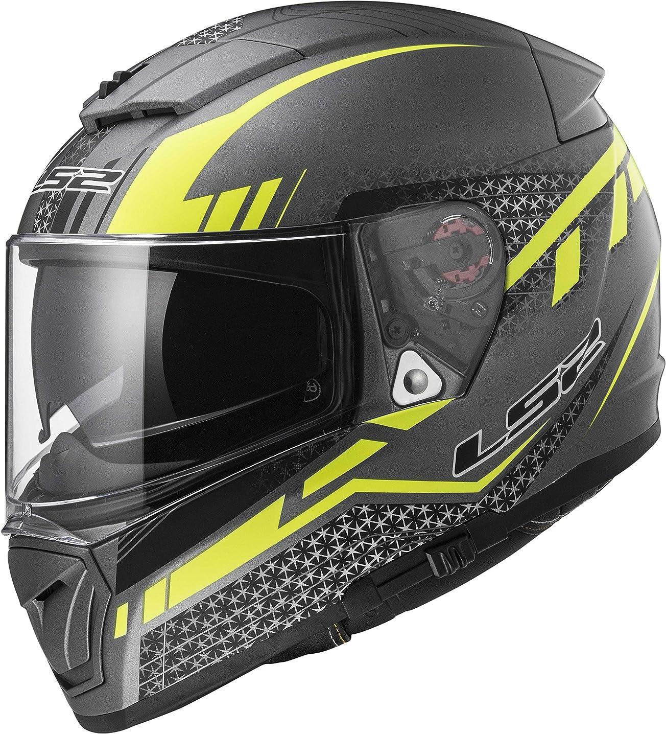 LS2 Helmets Unisex-Adult Full Face Helmet (Matte Titanium, X-Large) (Breaker Split Yellow)