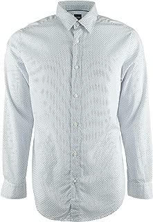 Hugo Boss Men's Long Sleeve Lukas Regular Fit Microprint Button Down Sport Shirt (White, X-Large)