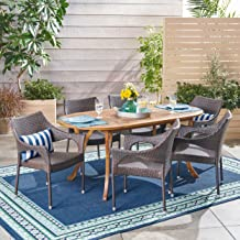 Christopher Knight Home Reeder Outdoor 7 Piece Acacia Wood and Wicker Dining Set, Teak with Multi Brown Chairs