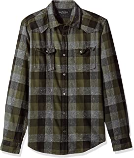 Calvin Klein Jeans Long Sleeve Buffalo Brushed Plaid Button Down Shirt