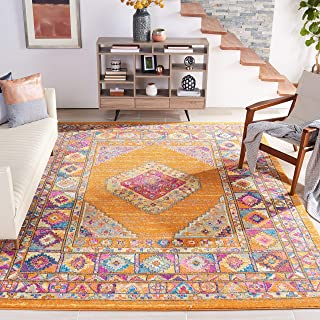 Safavieh Madison Collection MAD133D Orange and Fuchsia Bohemian Chic Medallion Area Rug (9' x 12')