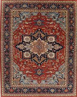Geometric Rust/Blue Heriz Serapi Oriental 12x15 Area Rug Large Living Room Wool (14' 9'' x 11' 10'')