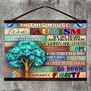 Zcocos Tree Canvas Poster in This House we do Autism we do meltdowns and Avoidance we Persevere we Don't go Down Without a Fight