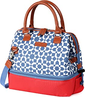 Arctic Zone 44-66076-00-08 Thermal Insulated Lunch Tote, 2 Compartments, Moroccan Tile - Red/Blue, 11