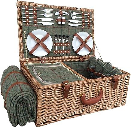 Rot Hamper Picknickkorb für 4 Personen aus aus aus Tweed, Grün B01AWLU984 | Neuartiges Design  26c11a