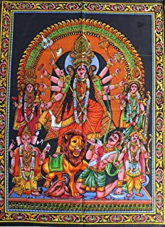 Goddess Durga Killing Demon Cotton Indian Tapestry with Laxmi, Ganesh, Lion Etc, Sequins Sitara Work Wall Hanging