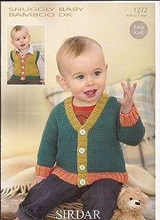 Sirdar Snuggly Baby Bamboo DK Easy Knit Knitting Pattern 1272 Cardigan & Waistcoat