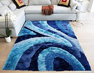 Gold Man Spotlight Shag Shaggy Modern 3D Yarns Thick Pile Fluffy Fuzzy Furry Plush Pile 8-Feet-by-10-Feet Polyester Made Area Rug Carpet Rug Gray Grey Turquoise Blue Two Tone Blue Colors