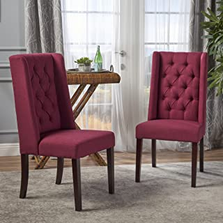 Christopher Knight Home Blythe Tufted Fabric Dining Chairs (Set of 2), Deep Red and Brown