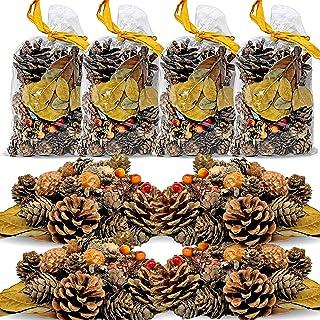 BANBERRY DESIGNS 松ぼっくりと秋の葉 - 松ぼっくり/葉/どんぐり/オレンジベリー無香料 - ポプリ花瓶ボウルフィラーに最適 - 農家 秋 クリスマス ホームデコレーション