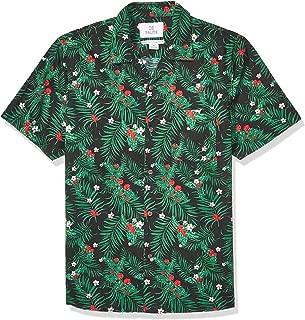 28 Palms Amazon Brand Men's Standard-Fit 100% Cotton Christmas Hawaiian Shirt, Holiday Black/Green Holly, XXX-Large