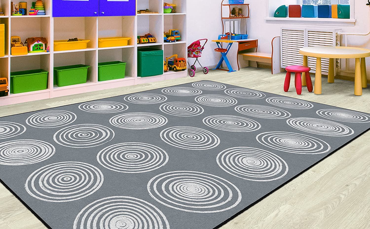 1. Circles Abstract Children's Classroom Area Rug