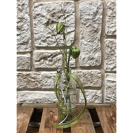 Gesteck mit Vase lila Allium und Schneeball Tischdekoration Nr.51 Tischgesteck