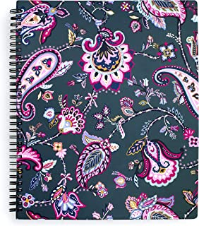 """Vera Bradley Large Spiral Notebook, College Ruled Paper, 11"""" x 9.5"""" with Pocket and 160 Lined Pages, Felicity Paisley"""