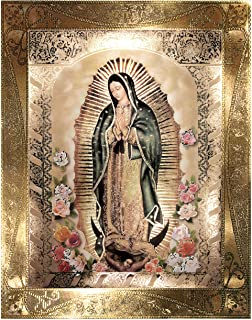 "Our Lady Of Guadalupe Body Portrait Roses Gold Border Foil (8""x10"") - Religious Wall Art Print Poster"