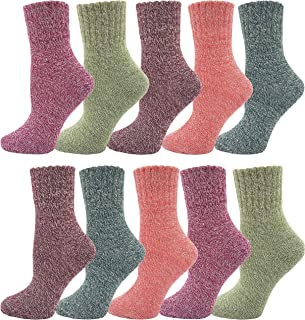 Womens Wool Socks, Bulk Pack Cozy Thick Knit Winter Vintage Crew Socks Warm Gift