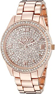 Women's Analog Watch with Rose Gold-Tone Case, Crystal Dial and Bezel, Fold-Over Link Clasp - Official XOXO Rose Gold Watch, Link Bracelet Strap - Model: XO5803
