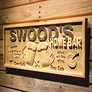 ADVPRO wpa0053 Name Personalized Home Bar Wooden 3D Engraved Sign Custom Gift Craved Bar Beer Home Décor Lake House Plaques Game Room Den Wood Signs - Standard 23