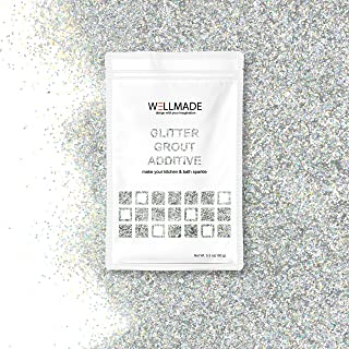 Glitter Grout Tile Additive 150g/5.3oz Glitter for Wall/Floor Tile Grout-DIY Home Wet Room Bathroom Kitchen Sparkle, Add/Mix with Epoxy Resin/Cement Based Grout (10g/0.35oz,Silver Holographic) Sample