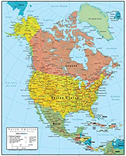 Swiftmaps North America Wall Map GeoPolitical Edition by (36x44 Laminated)