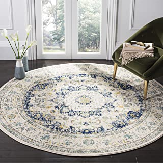 Safavieh Evoke Collection EVK220C Vintage Oriental Ivory and Blue Round Area Rug (5'1